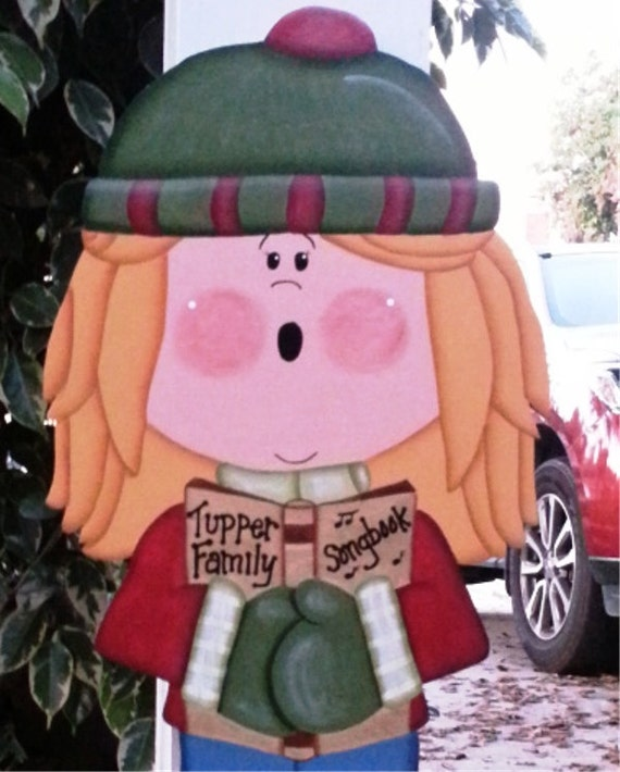 Christmas Carolers Yard Decorations: Girl Christmas Caroler Wood Decoration Indoor Outdoor Sign