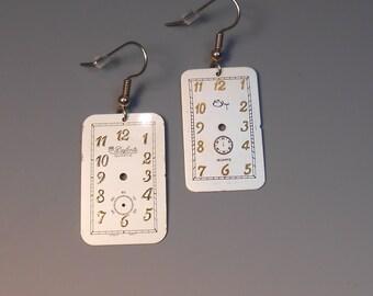 Steampunk Earrings Watch Dial Shepherd Hook Recycled Wrist Watch Face Earrings