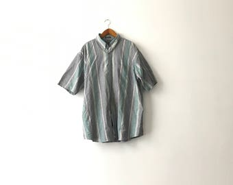 Dull Short Sleeve Striped Shirt - XXXL