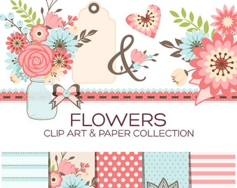 Floral Clipart Flower Clipart Valentine Clipart Flowers Clip Art Digital Paper Scrapbook Paper Printable Planner Stickers Wedding - C00001