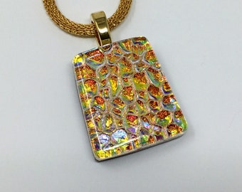 Dichroic Glass Pendant, Fused Glass Jewelry, Gold Copper Dichroic Necklace