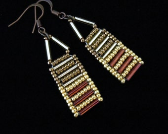 Gold and Bronze Bugle Bead Earrings, Seed Bead Earrings, Abacus Earrings, Drop Earrings, Casual Earrings