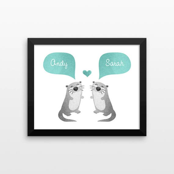 OTTER Couple Personalized Art Print, Anniversary Gift, Engagement Gift, Wedding Gift, Valentines Gift, Couples Gift, Animal Couple Wall Art