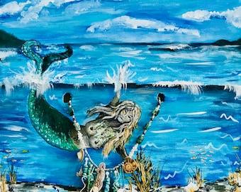 Acrylic Abstract Original Mermaid's Garden