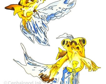 Fancy Goldfish Watercolor Art Print 8x10