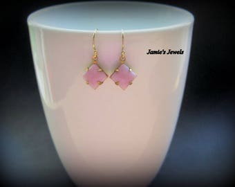 Pink Vintage Earrings - Pink Vintage Glass Earrings - Simple Pink Earrings - Square Pink Earrings - Tiny Pink Earrings - Pink Earrings Gold