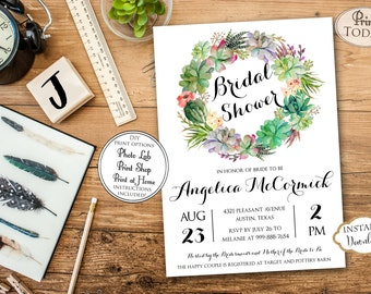 INSTANT DOWNLOAD - Boho Bohemian Floral Succulent Bridal Shower Invitation - Southwest Succulent Shower Invite - Green Floral Bridal - 0211