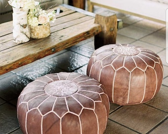 moroccan leather pouf ottaman  genuine hand-stitched - exclusive designs (tan)