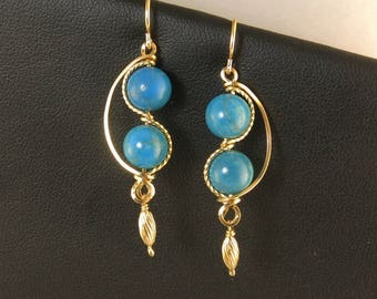 Turquoise Gemstone Gold Dangle Earrings, LongTurquoise Blue Gold Earrings,Unique Asymmetrical Gold Wire Wrapped Earrings, Turquoise Jewelry