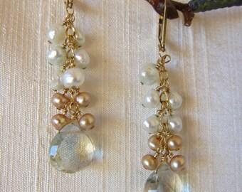 Green Amethyst, Pearl 14K Gold Filled Handmade Earrings
