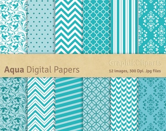 Aqua Digital Papers. Turquoise Backgrounds. Chevron, polkadots, quatrefoil, moroccan. 12 images, 300 Dpi. Jpg files. Instant Download.