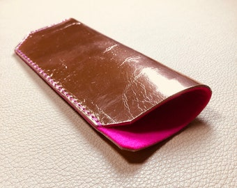 Leather Glasses Case, Spectacle Case, Sunglasses case, Eyeglass case, Sunglass Case, ROSE GOLD - PINK