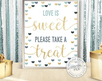Love is sweet please take a treat, wedding cupcakes table sign, candy buffet sign, sweets table, signs bridal shower, ready-to-print DIGITAL