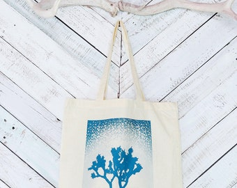 Joshua Tree Bag Teal Blue tote bag Joshua Tree market bag Eco market bag Reusable cotton bag Canvas tote bag Joshua Tree National Park