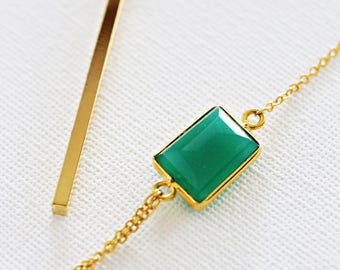 Fancy Lariat Necklace - Emerald