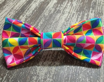Bow Tie or Flower Collar Attachment & Accessory for Dogs and Cats /Bright Colorful Geometric Pattern