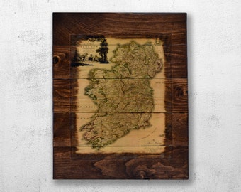 Historic Map of Ireland Wood Wall Art - 1797 Ireland Map