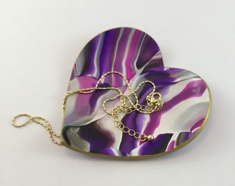 Heart Ring Dish with Purple Marbled Clay // Bridesmaid Gifts // Jewelry Storage