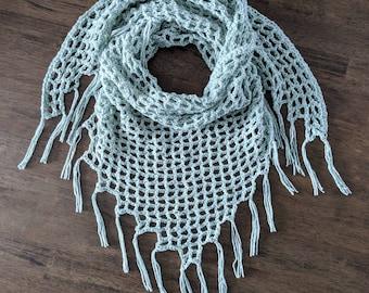 Crochet Mint Green Kerchief Scarf and Shawl