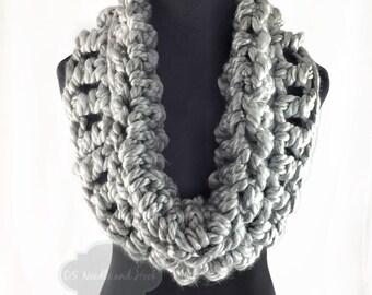Grey Crochet Scarf, Chunky Soft Cowl, Silver Gray Infinity Scarf, Pewter Handmade Shoulder Wrap, Platinum Gray Neck Warmer, Crochet Snood,