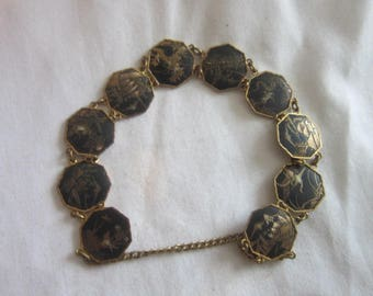 Antique Japanese Damascene Inlaid Gold & Silver 10 Scenic Discs Bracelet Wonderful