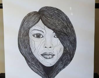 Broken girl drawing