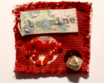 Textile Inch Square Brooch