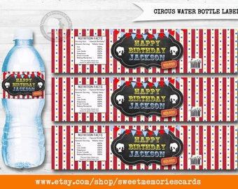 Circus Water Bottle Label, Circus Water Bottle, Carnival Water Bottle, Circus label