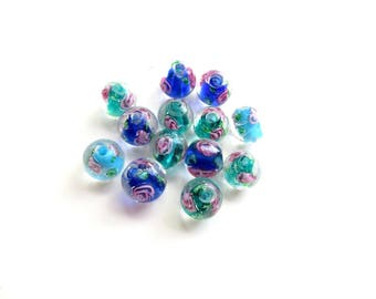 13 inclusion flower 10mm lampwork glass beads
