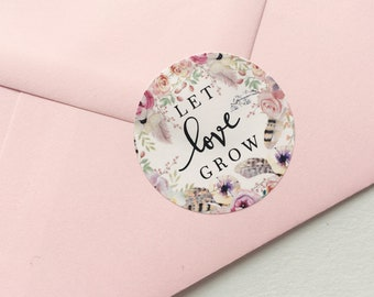 Let Love Grow Stickers Wedding Favor Stickers Seed Packet Labels Save the Date Stickers Boho Wedding Watercolour printed wedding stickers