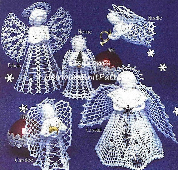 6 angels crochet pattern tree top angel standing angel dt1010fo