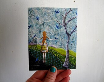 Gathering Songbirds, illustrated blank card, mothers day, spring blue birds, glossy finish