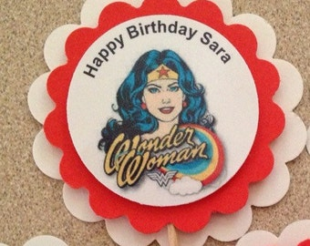 12 Wonder Woman party cupcake toppers birthday CUSTOM PERSONALIZED retirement bachelorette