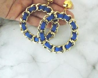Gold Chain and Blue Suede Hoop Drop Clip-On Earrings