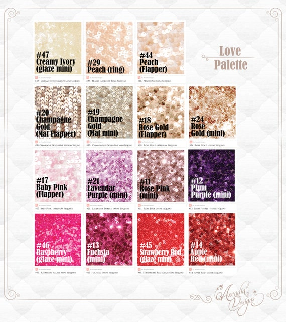 Love Colors Sequin Table Cloth / Runner MADE TO ORDER Peach