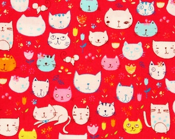 Cats Kittens printed Fabric made in Japan by the Half Yard