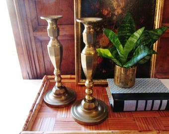 Vintage Brass Candlesticks, Marked M, Classic Brass Candleholders, Library Decor, Mantel Decor, The Gilded Tassel, Coffee Table Decor