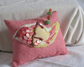 Handmade Hand Beaded Appliqued and Embroidered Pincushion - A Little Bird on Coral Jacquard