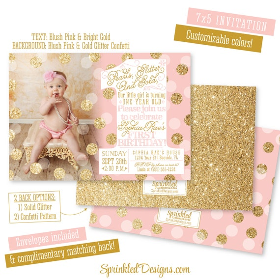 First birthday girl invitation photo card pearls glitter like this item filmwisefo Images