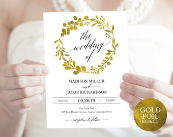 Gold Wedding Invitation Set,  Invitation Template Set, Editable Invitation, Gold,Wedding Invitation Printable, PDF Instant Download, MM07-3