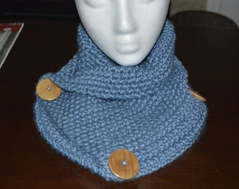 Cowl, Blue Knit with Large Wooden Buttons