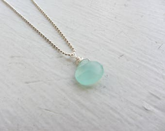 Chalcedony Necklace, Green gemstone, Stocking Stuffer, Mint Green Jewelry, Gemstone Necklace, Surfer Girl, Summer