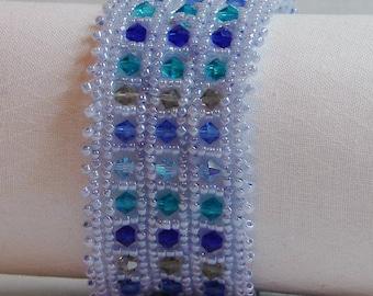 "Hand beadwoven blue Swarovski crystal bracelet - 8-1/2"""