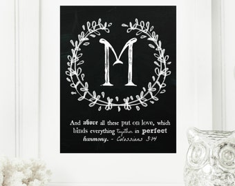"""Instant """"Family Monogram Scripture"""" Chalkboard Wall Art Print 8x10 Typography Letter """"M"""" Printable Home Decor"""