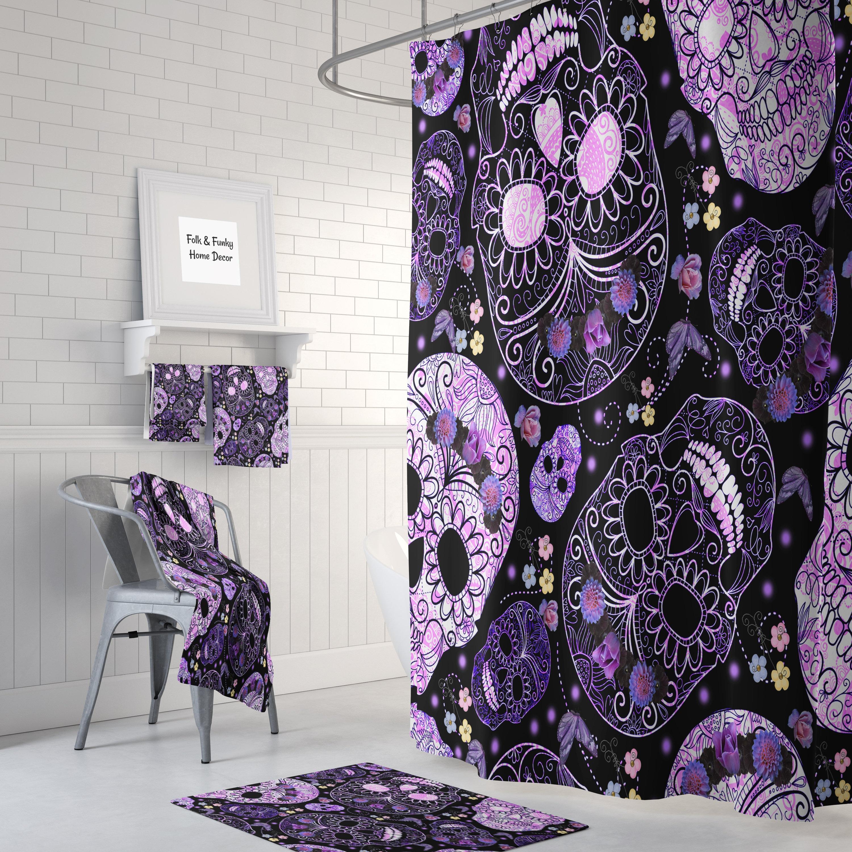 Shower Curtain Sugar Skull Purple And Black Bath Mat