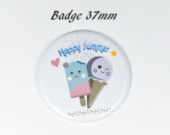 Round badge ice Kawaii happy summer 37mm