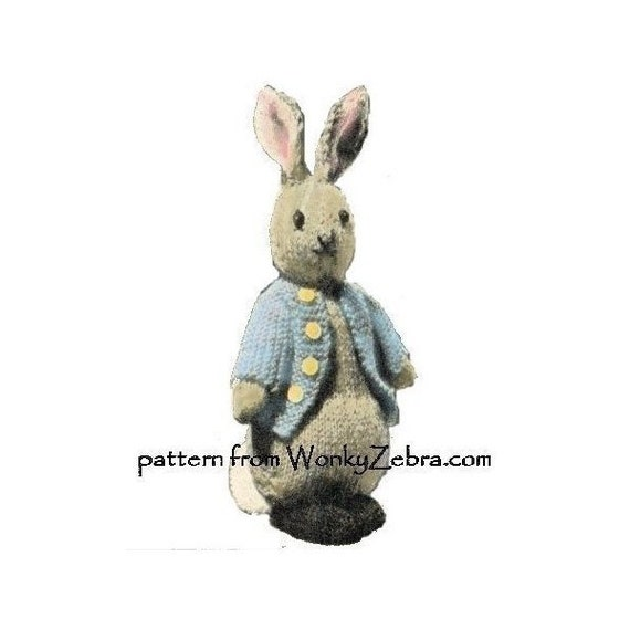 Vintage Rabbit Toy Knitting Pattern Bunny Peter Rabbit Pdf735 From