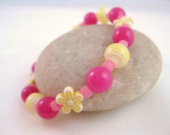 Pink and yellow beaded bracelet with yellow flowers, Summer colors, Large Girls Stretch Bracelet, GBL 106