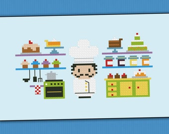 Luigi, the King of the Bakery - Cross stitch PDF pattern