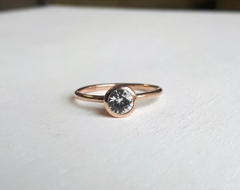 Simple White Sapphire or Moissanite Engagement Ring - 14kt Rose Gold - Minimalist - Solitaire